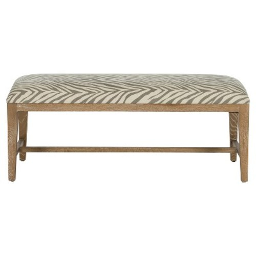 Safavieh MCR4533E Zambia Taupe and Beige Print Fabric Bench