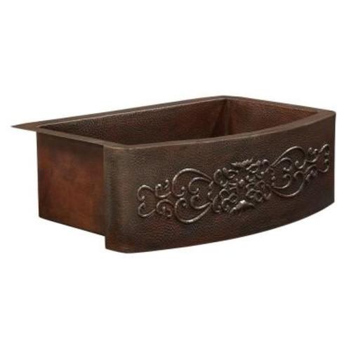 SINKOLOGY Donatello Farmhouse Apron Front Copper Sink 25 in. Single Bowl Kitchen Sink Bow Front Scroll Design
