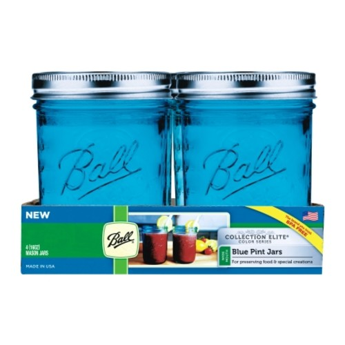 Ball Collection Elite Blue 1 pt. Wide Mouth Canning Jar (1440069023) - 4 Pack