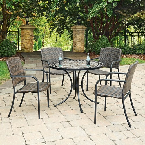 Home Styles Cottage 5-Piece Marble Outdoor Dining Set
