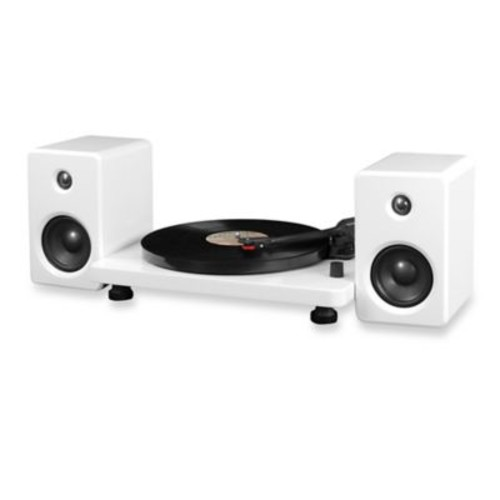 Victrola Modern Record Player with Bluetooth 50-Watt Speakers and 3-Speed Turntable in White
