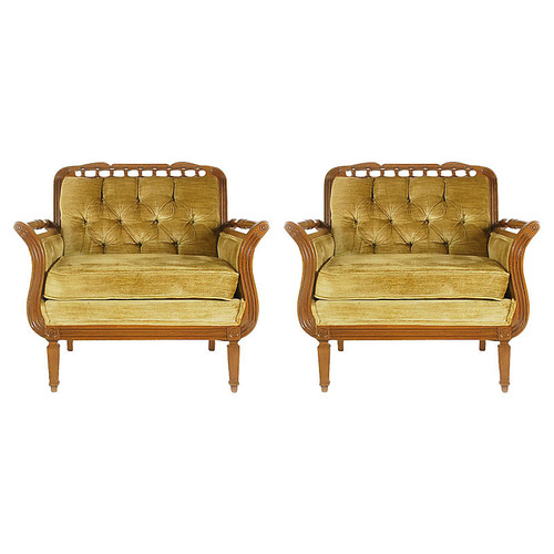 Tufted Chairs, Pair