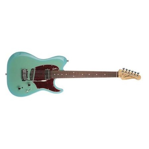 Godin Session Custom 59 6String Electric Guitar, Rosewood, Limited Coral Blue HG