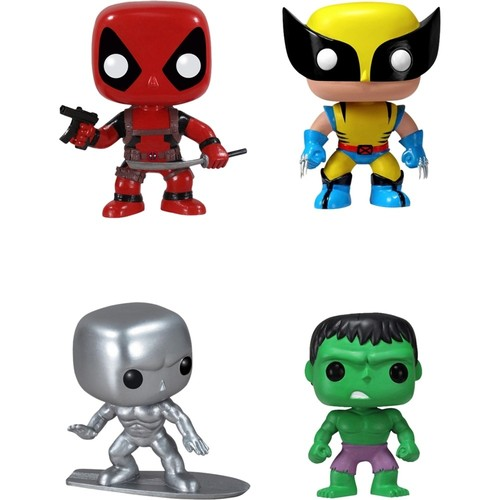 Funko - Marvel Select Pop! Vinyl Bobble-head Collectors Set: Deadpool, Silver Surfer, Wolverine and Hulk