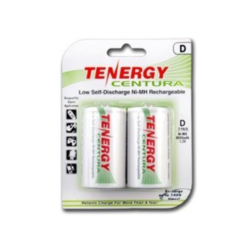 1 Card: 2 pcs Tenergy Centura D Size Low Self-Discharge (LSD) NiMH Rechargeable Batteries 8000mAh