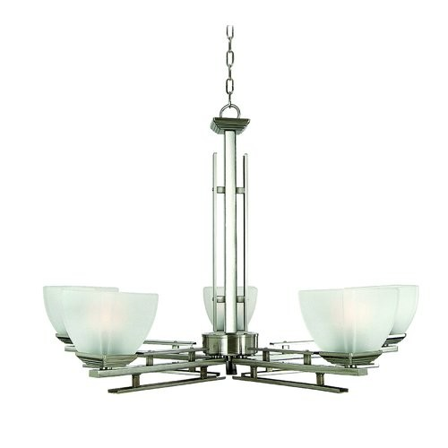 Yosemite Home Decor Half Dome 5-Light Satin Nickel Hanging Chandelier with White Frosted Glass Shade