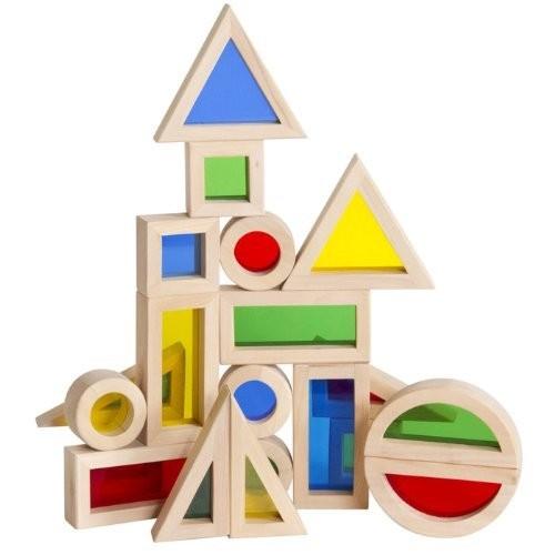 Guidecraft Jr. Rainbow Block 20 Piece Set [Birch/Acrylic, 20 Pieces]