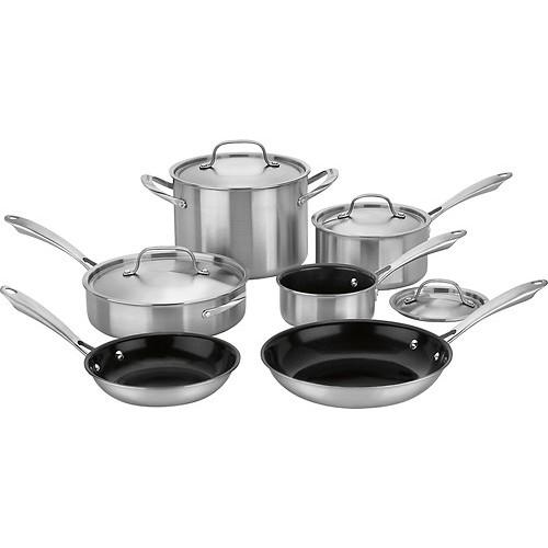 Cuisinart - GreenGourmet Tri-Ply 10-Piece Cookware Set - Stainless-Steel