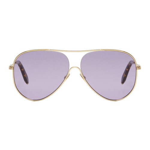 VICTORIA BECKHAM Blue & Gold Loop Aviator Sunglasses