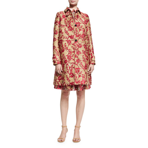 VALENTINO Floral Brocade Single-Breasted Coat, Pink/G