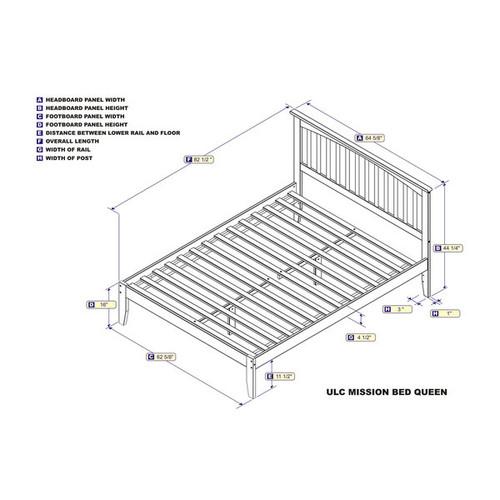 Mission Caramel Brown Wood Queen Open-foot Platform Bed
