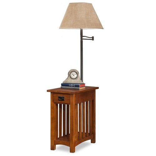 Leick Furniture 10028 Mission Chairside Swing Arm Lamp Table with Burlap Shade