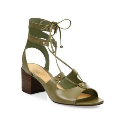 Schutz - Monik Leather Lace-Up Block Heel Sandals