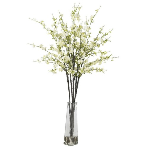 Nearly Natural Cherry Blossoms with Vase Silk Flower Arrangement White 1193-WH