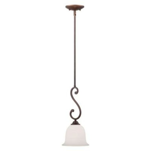 Millennium Lighting Rubbed Bronze Mini Pendant with Etched White Glass