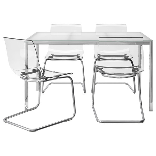 TORSBY / TOBIAS Table and 4 chairs, glass white, clear