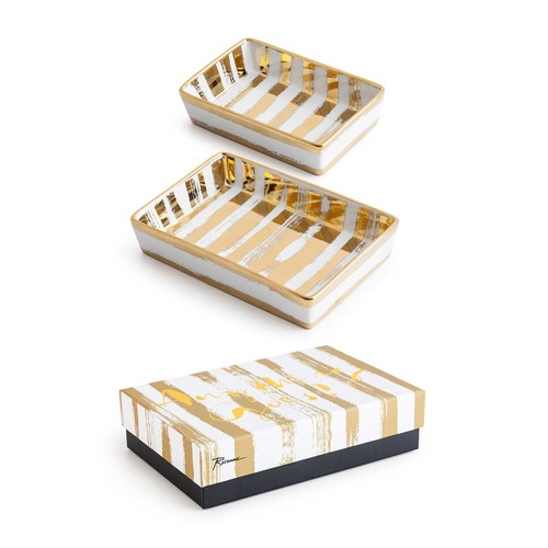 Rosanna Gold Brushstroke Porcelain Nesting Tray Set
