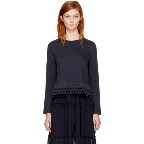 SEE BY CHLOÉ Navy Long Sleeve Eyelet T-Shirt