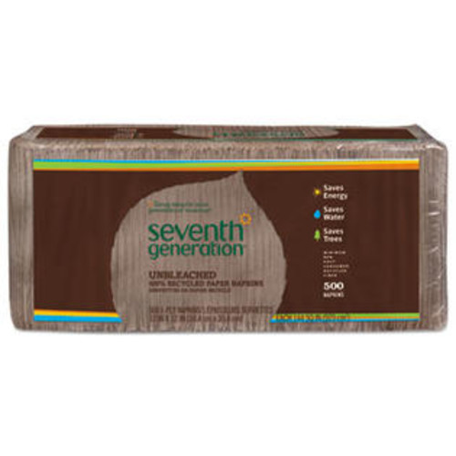 Seventh Generation 13705PK 100% Recycled Napkins, 1-Ply, 12 x 12, Unbleached, 500/Pack