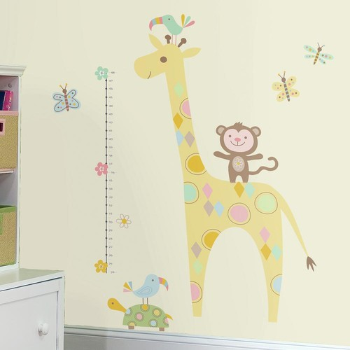 RoomMates 5 in. x 19 in. Tribal Baby Animal Growth Chart 19-Piece Peel and Stick Wall Decals