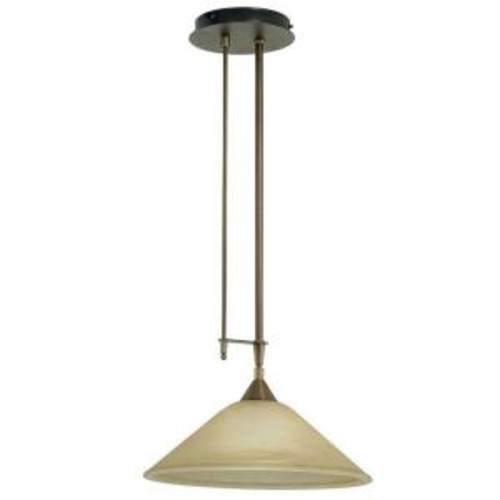 Eglo Madai 1-Light Bronze Hanging Pendant with Champagne Colored Glass Shade