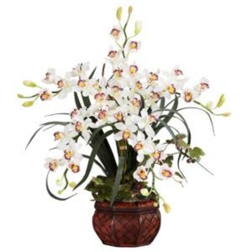 30 in. H White Cymbidium with Decorative Vase Silk Arrangement