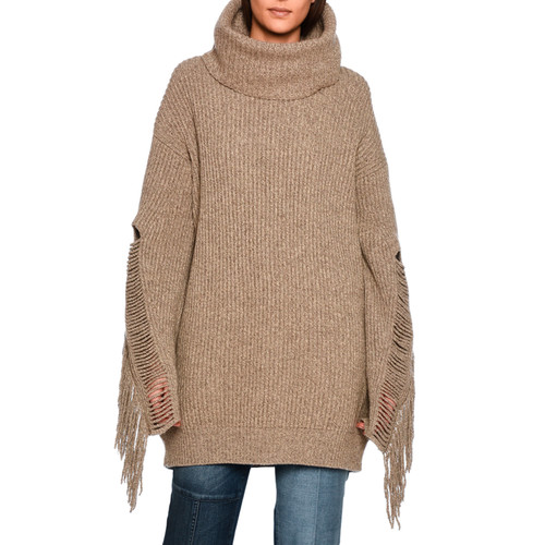 STELLA MCCARTNEY Oversized Fringe-Trim Turtleneck Sweater, Light Brown