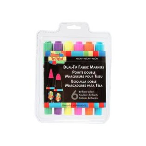 Scribbles Dual-Tip Permanent Fabric Markers, 6-Pack, Neon