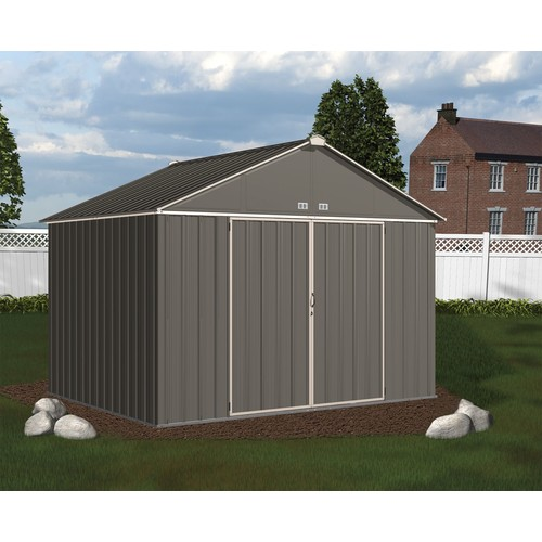Arrow EZ10872HVCCCR 10' x 8' EZEE Shed Galvanized Steel Storage, Extra High Gable - Charcoal