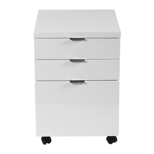 Eur Style Gilbert High Gloss Lacquered Mobile Filing Cabinet, White [White, Mobile Filing Cabinet]