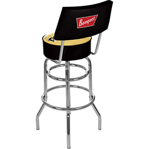 Trademark Global Coors Banquet Padded Bar Stool, With Back, Chrome