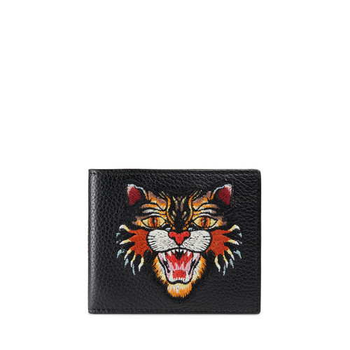 GUCCI Angry Cat Embroidered Leather Wallet, Black