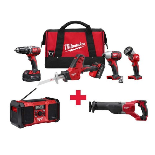 Milwaukee M18 18-Volt Lithium-Ion Cordless Combo Kit (4-Tool) with Free M18 Radio and M18 Sawzall