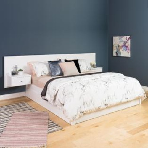 Prepac Manufacturing White Floating King Headboard with Nightstands