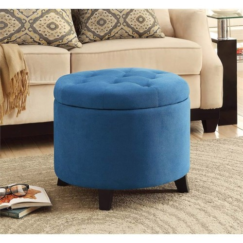 Convenience Concepts - Convenience Concepts Designs4Comfort Round Ottoman in Blue - Blue