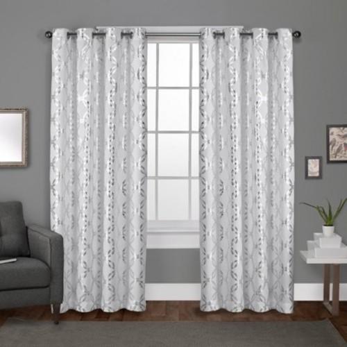 Modo Metallic Geometric Grommet Top Window Curtain Panel Pair Winter White 54x108 - Exclusive Home