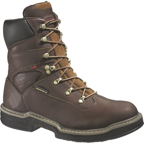 Wolverine Buccaneer Waterproof 8in. Work Boots  Brown, [WIDTH : MEDIUM]