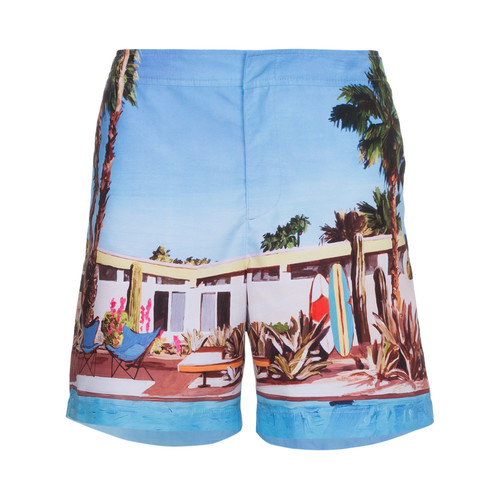 Bulldog Pool House print swim shorts