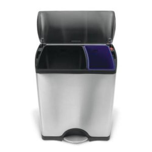 simplehuman 46-Liter Fingerprint-Proof Brushed Stainless Steel Rectangular Recycling Step-On Trash Can