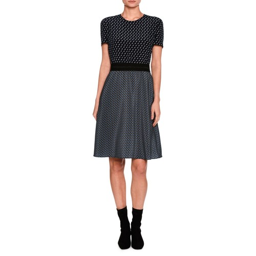 STELLA MCCARTNEY Tie-Print Short-Sleeve Dress, Black Pattern