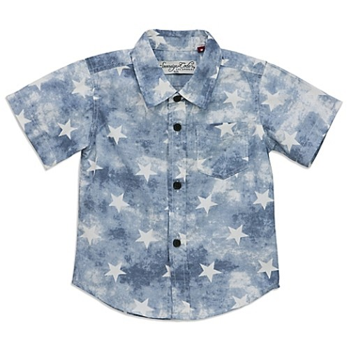 Sovereign Code Size 0-3M Washed Stars Shirt in Blue/White