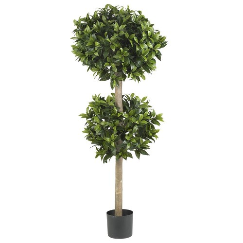 Nearly Natural Green Sweet Bay Double Ball Topiary Silk Tree