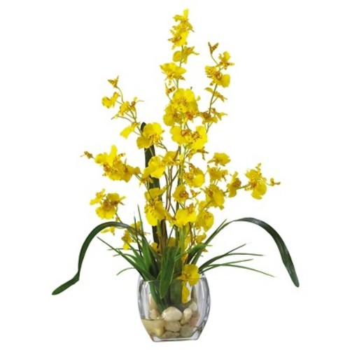 Nearly Natural Dancing Lady Orchid Liquid Illusion Silk Flower Arrangement Yellow