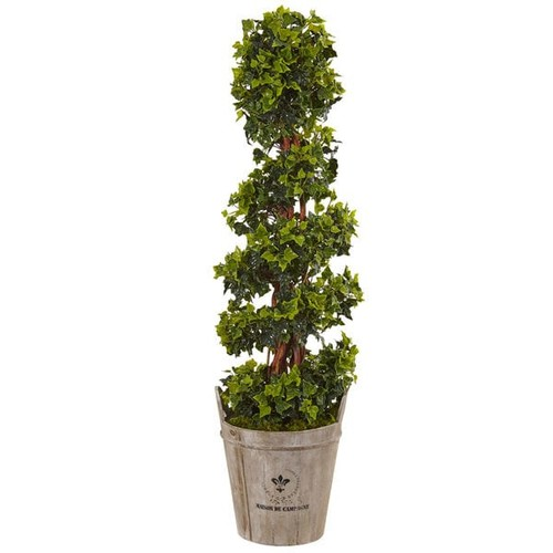 Nearly Natural Silk 4-foot English Artificial Indoor/Outdoor Ivy Tree in Farmhouse Planter - Silk Plant