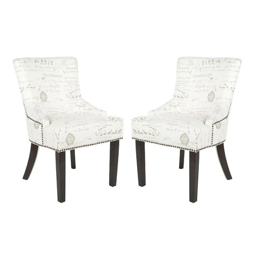 Safavieh MCR4700F-SET2 White/Grey Lotus KD Side Chair MCR4700