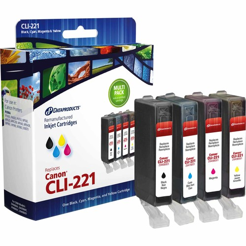 Dataproducts DPCCLI221MP Remanufactured Inkjet Cartridge for Canon CLI-221 - Black and Color Ink 4-Pack