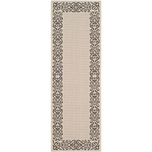 Safavieh Courtyard Sand/Black 2 ft. 4 in. x 12 ft. Indoor/Outdoor Runner
