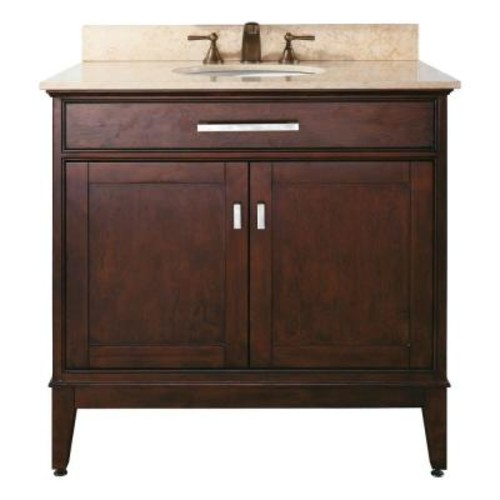 Avanity Madison 37 in. W x 22 in. D x 35 in. H Vanity in Light Espresso with Marble Vanity Top in Galala Beige and White Basin