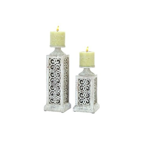 Ceramic 12-, 17-inches High Candle Holders (Set of 2)
