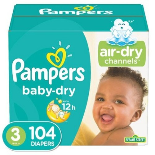 Pampers Baby Dry Diapers Super Pack Size 3 (104 ct)